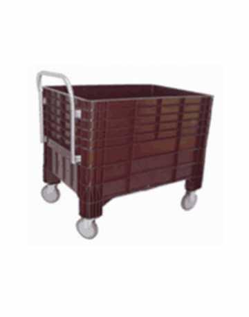 Lixeira Container Caixa Plástica 370 litros com Rodas e Sem Tampas