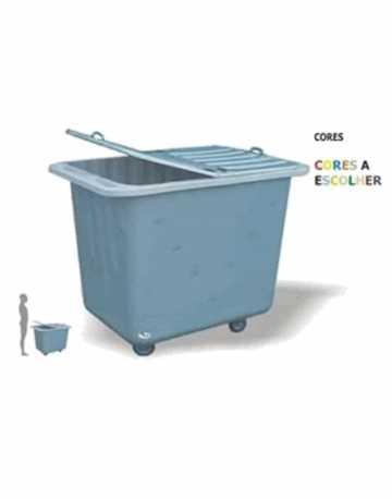 Lixeira Carrinho Container 330 litros em Fiberglass tampa bipartida