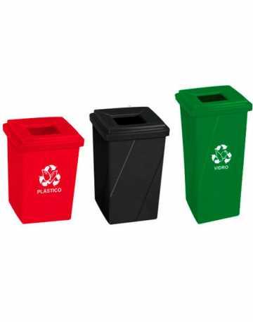 Cesto de lixo com tampa vazada em poliestileno 65 litros