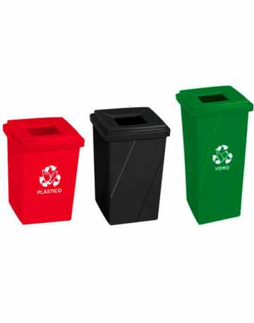 Cesto de lixo com tampa vazada em poliestileno 92 litros