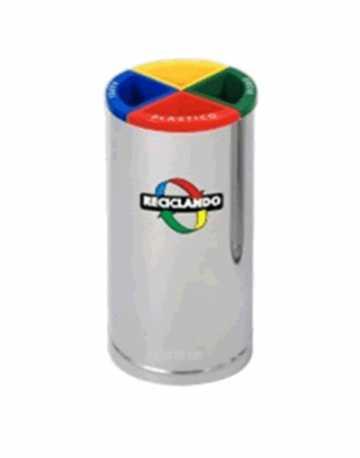 Lixeira para Coleta Seletiva em Inox 50 litros