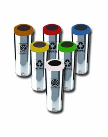 Lixeiras Aço Inox com Aro Pintado 50 litros