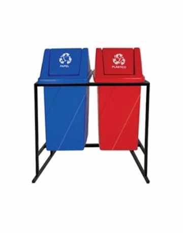 Lixeiras para Reciclagem tampa vai vem com suporte 52 litros