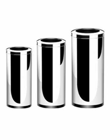 Lixeiras Redondas em  Aço Inox com Aro