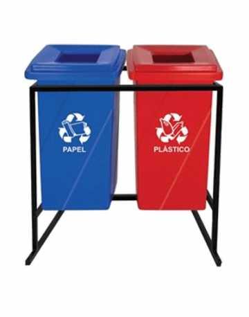 Lixeiras para reciclagem tampa vazada com suporte 92 litros