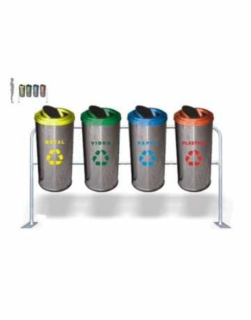 Conjunto de Lixeiras em Aço Inox com Suporte 22 litros