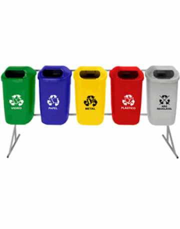 Lixeiras com abertura frontal para reciclagem