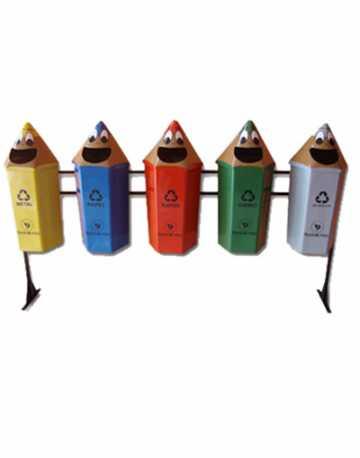 Conjunto coleta seletiva Lixeira Infantil em forma de Lápis 4 lixeiras