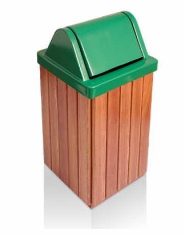 Coletor de Lixo em Madeira Cumaru com Tampa Basculante