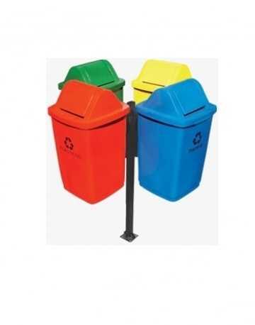 Conjunto coleta seletiva 50 litros em fiberglass com suporte