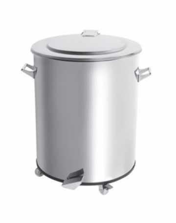 Lixeira Pedal 150 L - Inox Polido c/ balde aço galvanizado