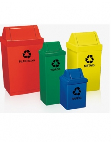 Cestos de Lixo com Tampa Vai Vem em Fiberglass