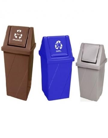 Cesto de Lixo Quadrado com Tampa Vai e Vem
