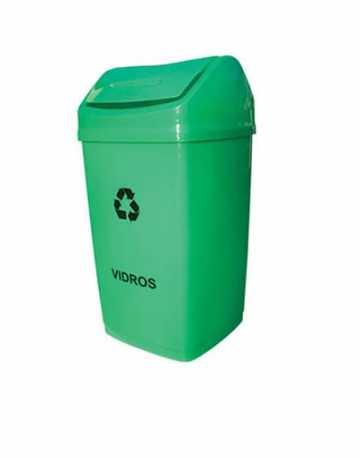 Cesto de Lixo quadrado Tampa vai vem 50 litros