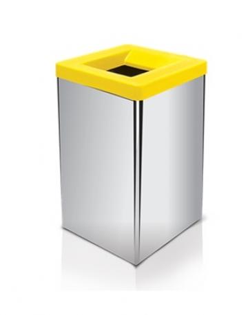 Lixeira quadrada em inox com tampa vazada 100 litros em fiberglass